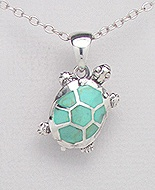 Sterling Silver Terrapin Necklace with light green Turquoise 558