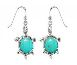 Sterling Silver Turtle with light green Turquoise Earrings 657