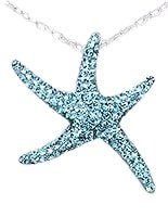 Sterling Silver Sea Star with Light Blue Crystals Pendant 991
