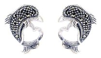 Sterling Silver Dolphin with Marcasite Post Earrings M121