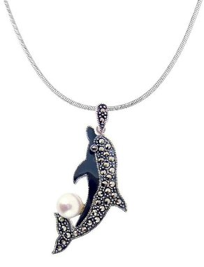 Sterling Silver Dolphin with Marcasite Necklace M553