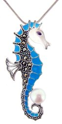Sterling Silver Seahorse with Marcasite Necklace M943