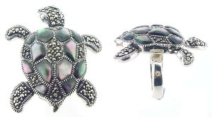 Sterling Silver Turtle with Marcasite & MOP Ring M321
