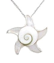 Sterling Silver Sea Star with White Mother of Pearl & Shiva Shell Pendant 793