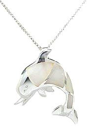 Sterling Silver Dolphin with White Mother of Pearl Necklace 181