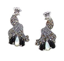 Sterling Silver Peacock Post Earrings 986 with Mother of Pearl