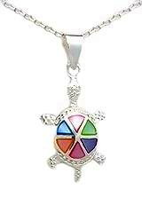 Sterling Silver Tortoise Necklace 093 with Multi-Color Mother of Pearl