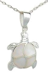 Sterling Silver Turtle with White Mother of Pearl Necklace 871