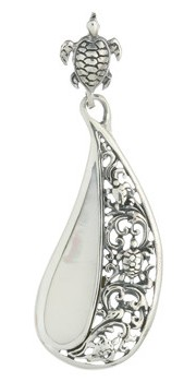 Turtle Sterling Silver Pendant 692 with Mother of Pearl and Turtle Bail