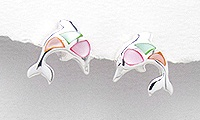 Sterling Silver Dolphin Post Earrings 764 (three colors)