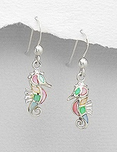 Sterling Silver Seahorse with multi color Mother of Pearl Earrings 558