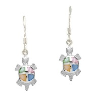 Sterling Silver Tortoise with multi color Mother of Pearl Earrings 449