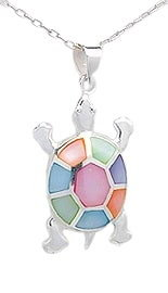 Sterling Silver Tortoise Necklace 081 with multi color Mother of Pearl