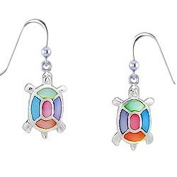 Sterling Silver Turtle with multi color Mother of Pearl Earrings 115