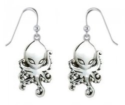 Sterling Silver Octopus Alien Earrings PE041