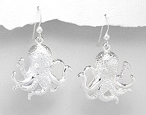Silver Plated Brass Octopus Earrings 874