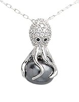 Octopus Sterling Silver Pendant with CZ and Rhodium Plating 974
