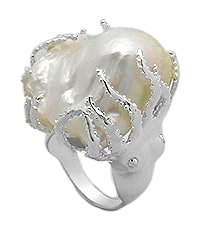Sterling Silver Octopus Ring with Fresh Water Pearl 302
