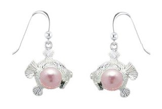 Fish with Pink Pearl Sterling Silver Earrings PE 048