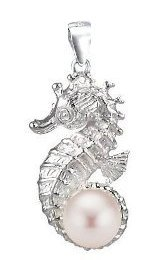 Seahorse with Pink Pearl Sterling Silver Pendant PP 757