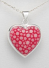 Sterling Silver Stingray Leather Necklace PP 947 (Pink)