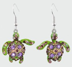 Sea Turtle Purple, Pink and Green Crystal Earrings