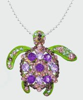 Sea Turtle Purple, Pink and Green Crystal Pendant