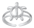 Rhodium Plated Turtle Toe Ring SITR6770