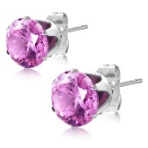 Stainless Steel with 8mm October Birthstone Round Rose Pink CZ Stud Earrings 624