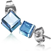 Stainless Steel with 4mm September Birthstone Sapphire Cube CZ Stud Earrings 753