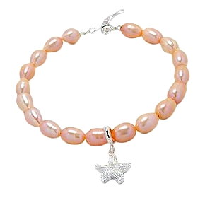 Sea Star Peach Fresh Water Pearl Bracelet 872