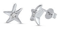 Rhodium Plated Sea Star Post Earrings SIE5801