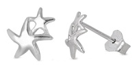 Rhodium Plated Mother and Child Sea Stasr Stud Earrings SIE1311
