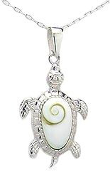 Sterling Silver Sea Turtle with Shiva Shell Necklace 382