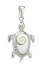 Sterling Silver Sea Turtle with Shiva Shell Pendant 382