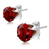 8mm Stainless Steel with January Birthstone Light Siam Red CZ Round Stud Earrings 244
