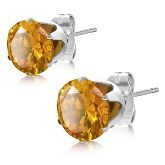 Stainless Steel with 8mm November Birthstone Round Smoke Topaz CZ Stud Earrings 324