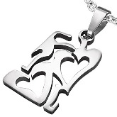 Stainless Steel 2 Hearts Pendant 810