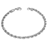 8 inch Stainless Steel 2mm Twisted Chain Bracelet