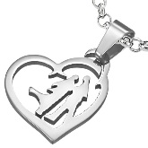 Stainless Steel Couple Heart Pendant 330