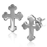 Stainless Steel Cross Post Earrings 001