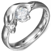 Stainless Steel Dolphin with CZ Ring 560
