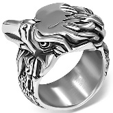 Stainless Steel Eagle Head Ring 651 side view