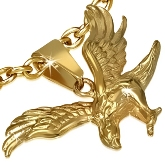 Stainless Steel Falcon Pendant 347 in Gold Color