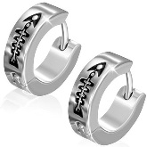 Stainless Steel Fishbone Huggie Earrings 871