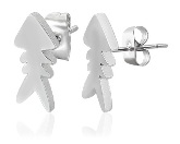 Stainless Steel Fishbone Post Earrings 180