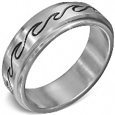 Stainless Steel Ocean Wave Spinning Ring 381