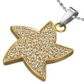 Stainless Steel CZ Starfish Necklace 202