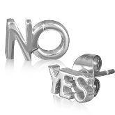 Stainless Steel YES NO Post Earrings 102