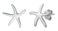 Rhodium Plated Starfish Post Earrings SIE7961